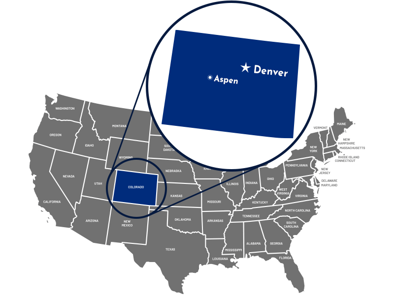 Map of the United States with a callout to Colorado, labeling Denver and Aspen